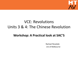 VCE: Revolutions Units 3 & 4: The Chinese Revolution