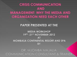 Crisis Communication Presentation for KPA