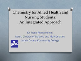 Chemistry for Allied Health and Nursing Students: An