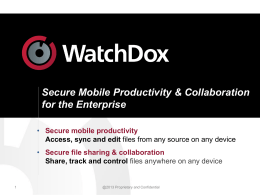 WatchDox* - Document Control as a Service
