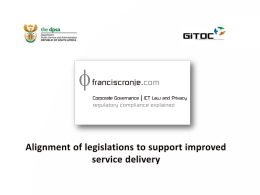 Alignment of legislations to support improved service delivery