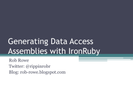 Generating Data Access Assemblies with IronRuby