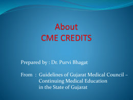 About CME CREDITS - Ahmedabad Ophthalmic Society