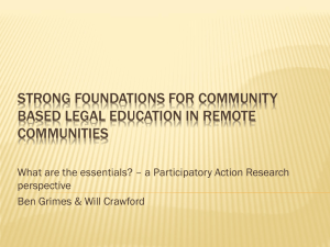 Strong foundation for community based legal education in remote
