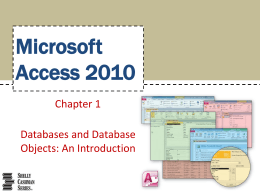 Databases and Database Objects: An Introduction