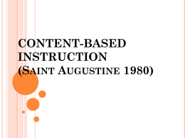 CONTENT-BASED INSTRUCTION (Saunt Augustine