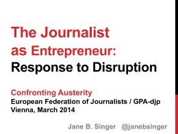 Entrepreneurial journalism - International Federation of Journalists