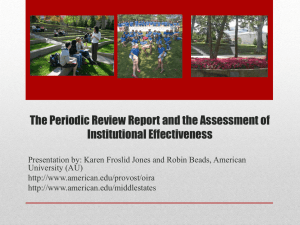 The Periodic Review Report and the Assessment of Institutional