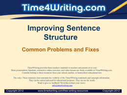 Improving Sentence Structure
