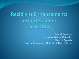Recidivist Enhancements after Descamps PowerPoint