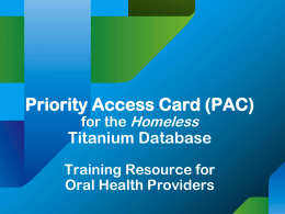 Oral Health Services Titanium Database Training