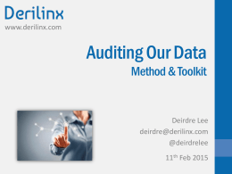 Auditing our Data Method and Toolkit