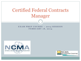 CFCM - Exam Prep - NCMA Rio Grande Chapter Study Group