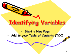 Identifying Variables - Spring Lake Park Schools
