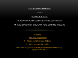 Psychodynamic Approach 5.1.2014 Lesson