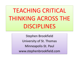 Stephen Brookfield on Critical Thinking