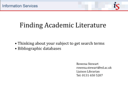 Finding Academic Literature