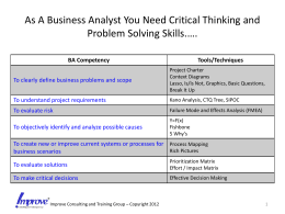 As A Business Analyst You Need Critical Thinking and