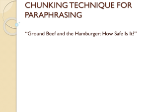 CHUNKING TECHNIQUE FOR PARAPHRASING