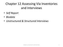 Chap 12 Assessing Via Inventories and Interviews: Self