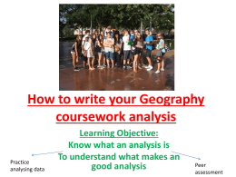 How to write your Geography coursework analysis Learning Objective