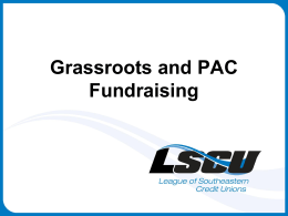 Grassroots and PAC Fundraising Plan to Win