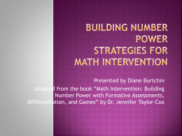 Building Number Power Strategies for Math Intervention