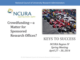KEYS TO SUCCESS NCURA Region IV Spring Meeting April 27