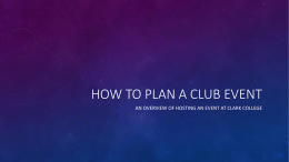 How to plan a club event