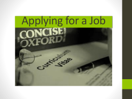 2 Applying for a Job The CV