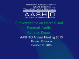 Subcommittee on Internal and External Audits Activity Report