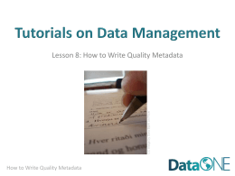 How to Write Good Quality Metadata