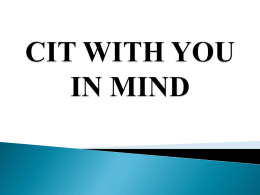 CIT with You in Mind - CIT International Conference