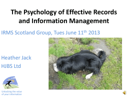 The Psychology of Effective Records and Information Management