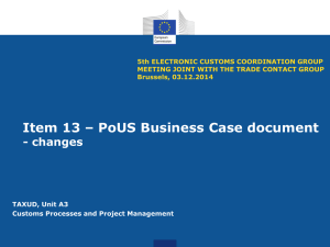 Item 13 – PoUS Business Case document
