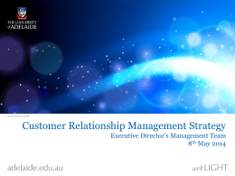 CRM Strategy - University of Adelaide