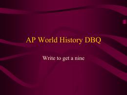 ap world histroy dbq