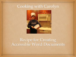 A Recipe for Creating Accessible Word Documents