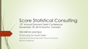 Financing for Asset Sales - Score Statistical Consulting