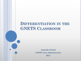 Differentiation in the GNETS Classroom