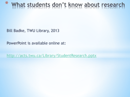 What students don*t know about research