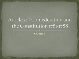 Articles of Confederation and the Constitution 1781