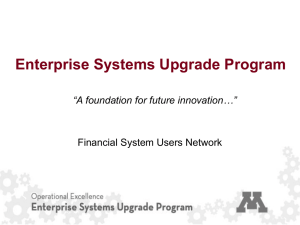 (ESUP) Overview - Enterprise Financial System