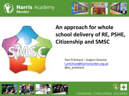 Whole school approach to SMSC PSHE