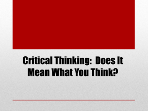 Critical Thinking: Does It Mean What You Think?