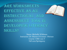 are worksheets effective as an instructional and assessmrnt tool in