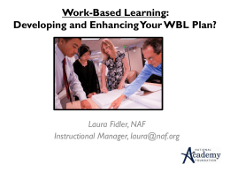 Work-Based Learning: Developing and enhancing your WBL plan