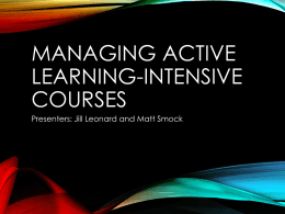 Managing Active Learning-Intensive Courses slides