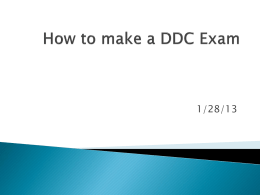 How to make a DDC Exam