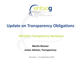 Update on Transparency Obligations